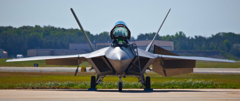 F-22 Raptor Airplane parked on a runway
