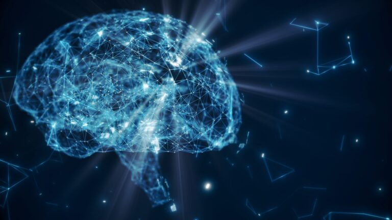 Stylized image of a brain with nodes connected by lines