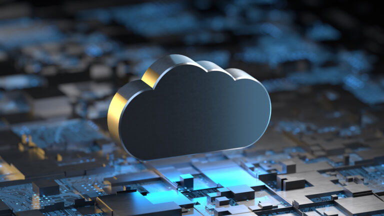 Metallic cloud overlooking a city made of microchips